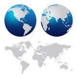 World map. And blue world globes isolated on white royalty free illustration