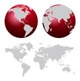 World map. And red world globes isolated on white stock illustration