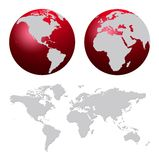 World map. And red world globes isolated on white royalty free illustration