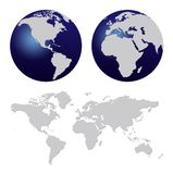 World map. And dark blue world globes isolated on white stock illustration