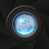 World map. Blue world map icon over aperture style background stock illustration