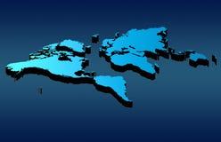 World map. Blue world map over blue background stock illustration