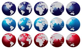 World map. Blue and red world map globes vector illustration