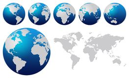 World map. And blue world globes isolated on white vector illustration