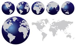 World map. And dark blue world globes isolated on white vector illustration