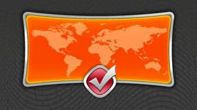 World map. Orange world map with metal border over digital background royalty free illustration