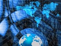 World map. Blue world map and blue globe over digital background vector illustration