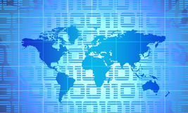 World Map. Binary World - Global Technology Concept In Blue Royalty Free Stock Photos