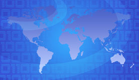 World Map. Binary World - Global Technology Concept In Blue royalty free illustration