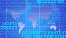 World Map. Binary World - Global Technology Concept In Blue Stock Images