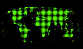 World map. With green dots on black background Stock Illustration