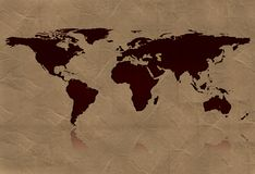 World map. Map of the world - world illustration - world map Royalty Free Stock Images
