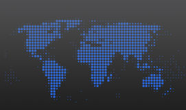 World map. With blue dots on gray background Stock Illustration
