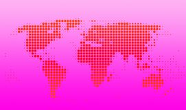 World map. With red dots on pink gradient Stock Illustration
