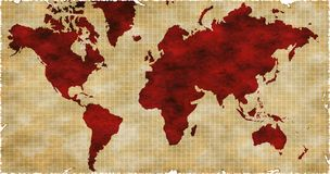 World Map. Old map royalty free illustration