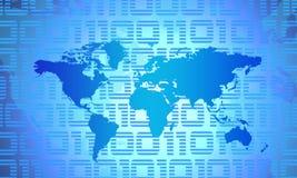 World Map. Binary World - Global Technology Concept In Blue stock illustration