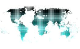 World map. With shining gradient of turquoise squares Stock Illustration