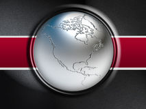 World map. 3D metal ball background stock illustration