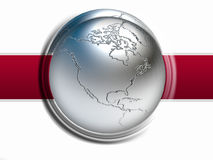 World map. 3D metal ball background vector illustration