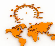 World map. 3D and speedometer royalty free illustration
