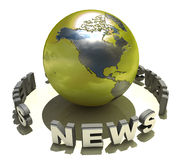 World map. And 3D news text vector illustration