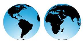 World map. Rasterized views from the earth globe Stock Photos