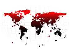 World map. Outline of world continents on a map with artistic symbols vector illustration