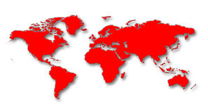 World Map. Red Continents With Shadows On White Background stock illustration