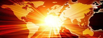 World map. On a bright orange background Stock Image