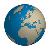 World map. Illustrations of the world with focus on Europe and Africa vector illustration