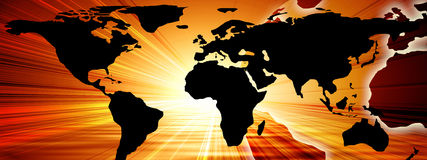 World map. On a bright orange background Royalty Free Stock Photos