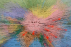 World Map. With some red pins coming from China Stock Image