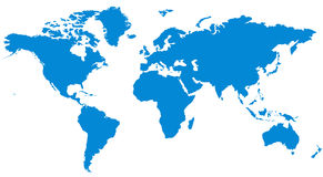 World Map. A simple vector map of the World - Blue color Stock Image