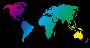 World map. Map of the world showing day-to-night zones Royalty Free Stock Images
