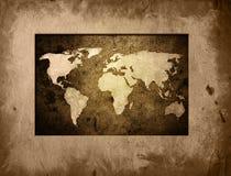 World map. Vintage artwork (America,Europe,asia Stock Images