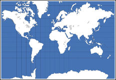 World Map. A simple world map, with blue colored water royalty free illustration