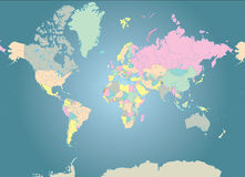 World Map. Color coded map of the world Royalty Free Stock Images