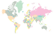 World Map. Color coded map of the world vector illustration