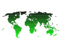 World map. In a green gradient of broad lines Stock Illustration