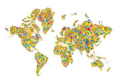 World map. In square. illustrator file Royalty Free Stock Photo