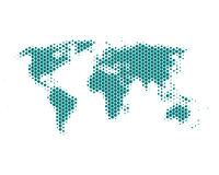 World map. In turquoise hexagons Stock Illustration