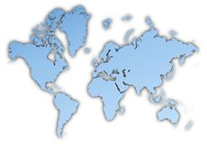 World map. World light blue map with shadow. High resolution. Mercator projection royalty free illustration