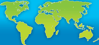 World Map. A neat world map illustration with clearly defined outilnes vector illustration