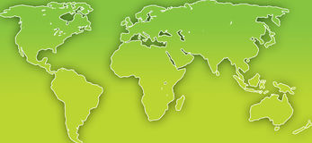 World Map. A world map outline representing green living Royalty Free Stock Photography
