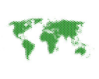 World map. In green hexagons Royalty Free Illustration
