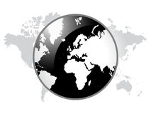 World map. White map icon  on world map Royalty Free Stock Images