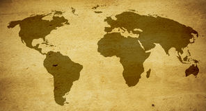 World Map. Old world map in warm tones yellow Stock Photos