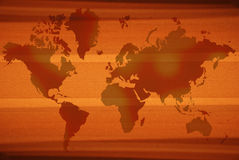World Map. An illustrated background of a world-map in orange color on a grunge striped pattern Royalty Free Stock Photos
