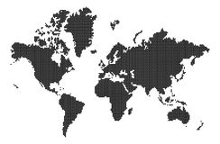 World map. On isolated background with grid Royalty Free Stock Photos