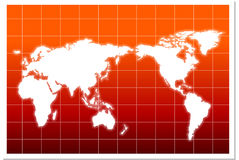 WORLD MAP. With red background in aqua style Stock Photography